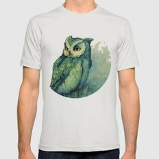 Green Owl Mens Fitted Tee Silver SMALL