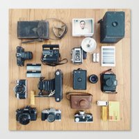 Cameras Organized Neatly Canvas Print