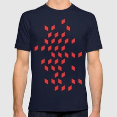 rhombus bomb in poppy red Mens Fitted Tee Navy SMALL