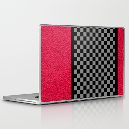 Checkered/Textured Red Laptop & iPad Skin