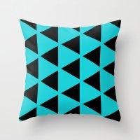 Sleyer Black On Blue Pat… Throw Pillow