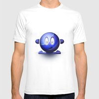 Emoticon Blue Mens Fitted Tee White SMALL