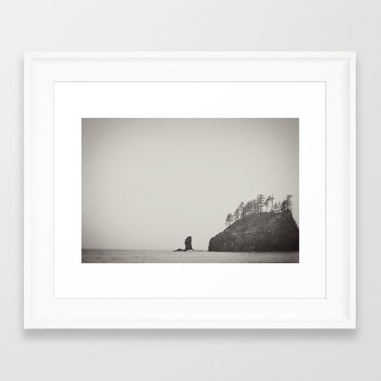 Beach Black and White Framed Art Print
