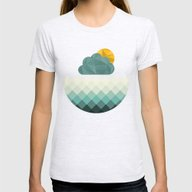 Sea Polygons Womens Fitted Tee Ash Grey MEDIUM