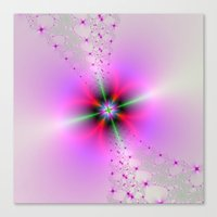 Floral Sprays in Pink and Green Canvas Print