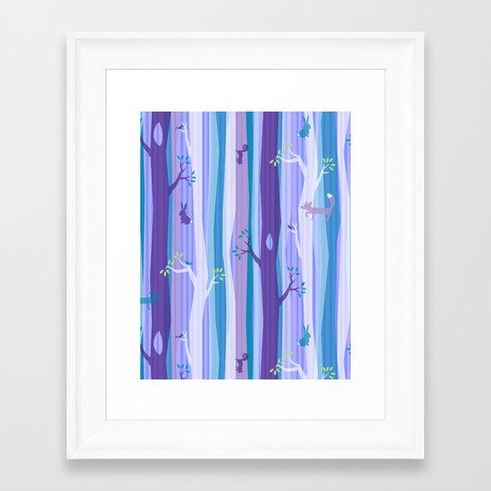 Purple Woodland Stripe Framed Art Print