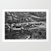 Waterfall Mono Art Print