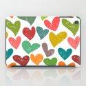 Colorful grunge hearts iPad Case