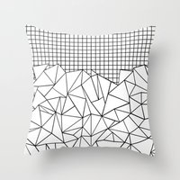 Abstract Grid #2 Black O… Throw Pillow