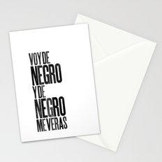 Voy de negro — Letterpress (White) Stationery Cards