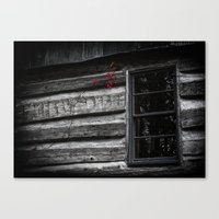 Red Cling on Gray Canvas Print