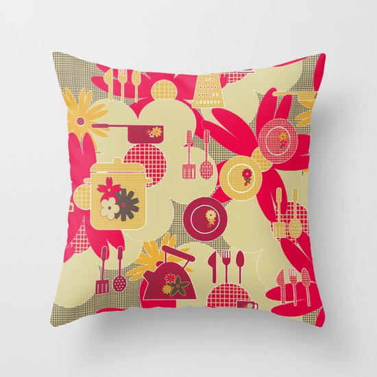 Hessian Kitchen Throw Pillow