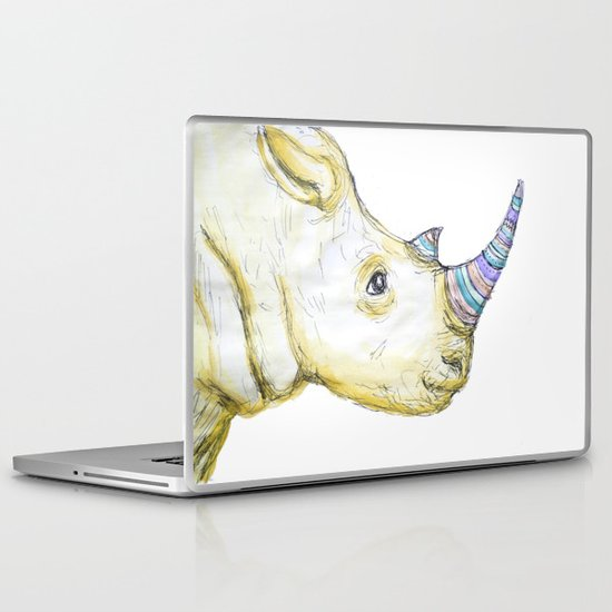 Striped Rhino Illustration Laptop & iPad Skin