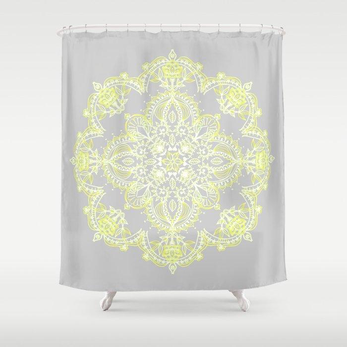Pale Lemon Yellow Lace Mandala On Grey Shower Curtain By Micklyn Society6