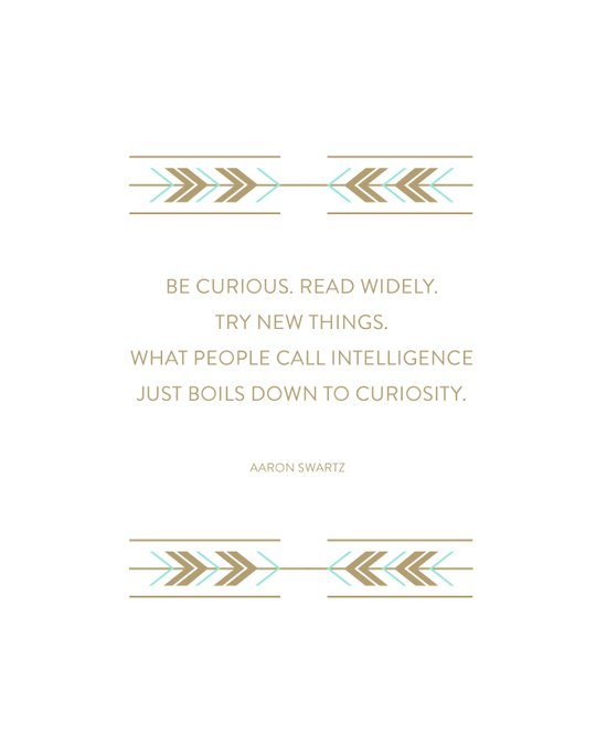 Be Curious, Read Widely Art Print