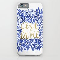 iPhone Cases featuring That's Life – Gold & Blue by Cat Coquillette