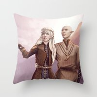 Dragon Age - Finding Skyhold - Solas and Inquisitor Throw Pillow