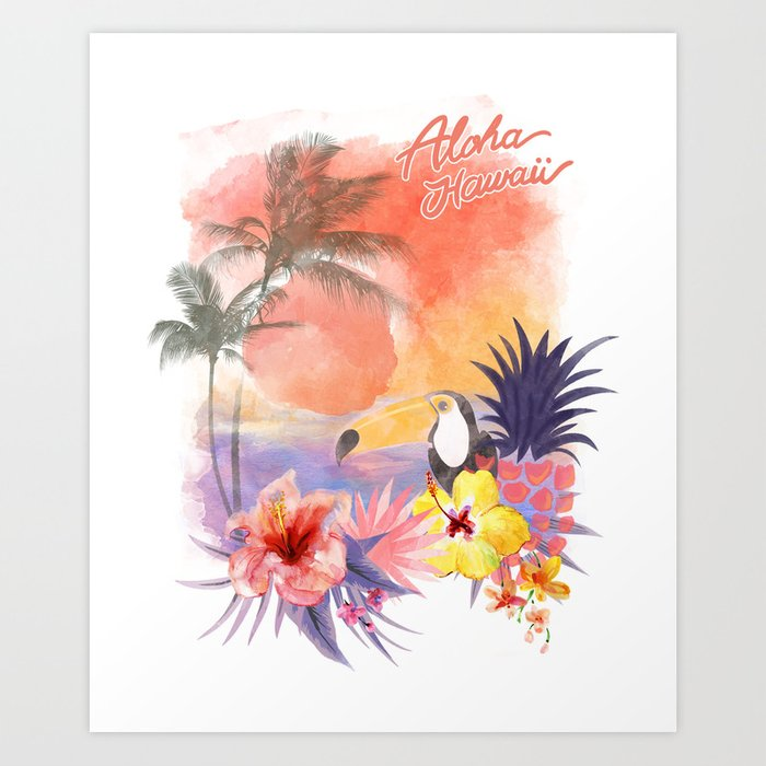 Sunday's Society6 - Tropical watercolor art print with palm trees, flowers, pineapple and tropical bird