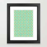 Repeated Retro - turquoise Framed Art Print