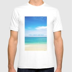 I Will Always Love Blue. SMALL Mens Fitted Tee White