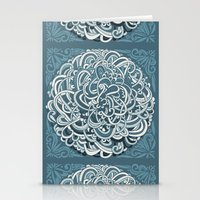 Detailed circlecorner, blue Stationery Cards
