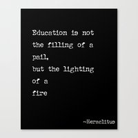 education, the lighting of a fire Canvas Print