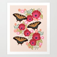 Swallowtail Florals By A… Art Print
