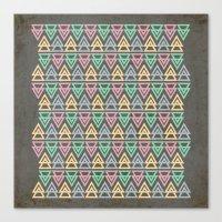 Triangulate 3 / Neon Mid… Canvas Print