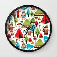 Cute indian haunting illustration pattern Wall Clock