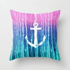 Nautical Anchor Pink Teal Watercolor Stripes Drips Throw Pillow