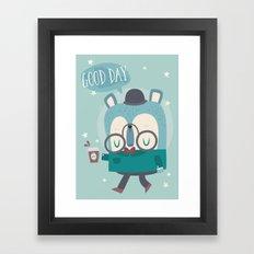Snazzy Bear Says Good Day Framed Art Print