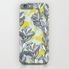 Leaf and Berry Sketch Pattern in Mustard and Ash iPhone 6s Slim Case