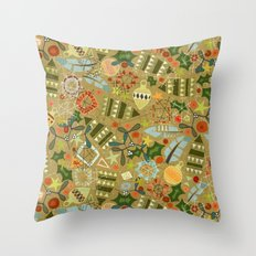vintage christmas gold Throw Pillow