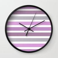 Purple Gray Stripes Wall Clock