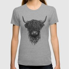 Highland Cattle Womens Fitted Tee Athletic Grey LARGE