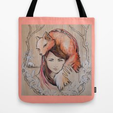 Safe in My Red Riding Hood, Balsa Tote Bag