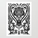 Cyber Princess Black Art Print