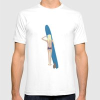 Wave Check Mens Fitted Tee White SMALL