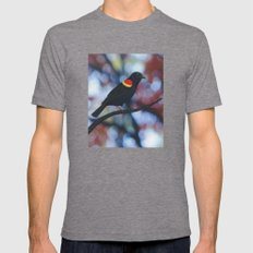 red winged blackbird male bokeh Mens Fitted Tee Tri-Grey SMALL