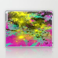 Stargazer - Abstract cyan, black, purple and yellow oil painting Laptop & iPad Skin