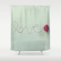 love in string Shower Curtain
