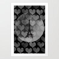 Paris in Hearts Art Print