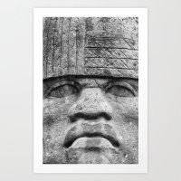 Olmec Man - Ancient Olmec Stone Statue Art Print