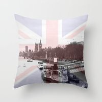 London Skyline and Union Jack Flag  Throw Pillow