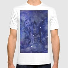 Night Sky Galaxy Stars | Watercolor Space Texture Mens Fitted Tee SMALL White
