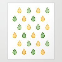 Yellow and green raindrops Art Print