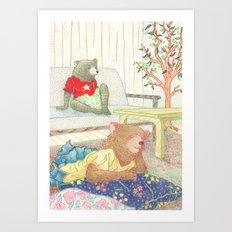Everyday Animals- Little Bears lounge around Art Print