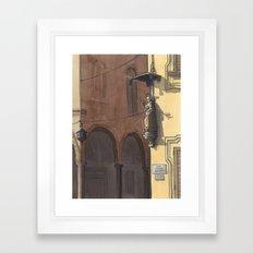 VIA CESARE BATTISTI, Bologna Travel Sketch by Frank-Joseph Framed Art Print