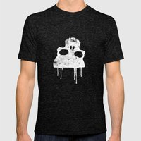 GRUNGE BACKGROUND WITH SKULL Mens Fitted Tee Tri-Black SMALL