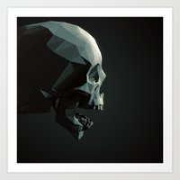 Skull Roar - Black Art Print